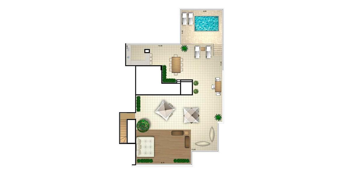 685 M² - 5 SUÍTES. COBERTURA DUPLEX SUPERIOR. Apartamento de alto padrão com piso superior inteiramente dedicado ao lazer área gourmet e piscina privativa.