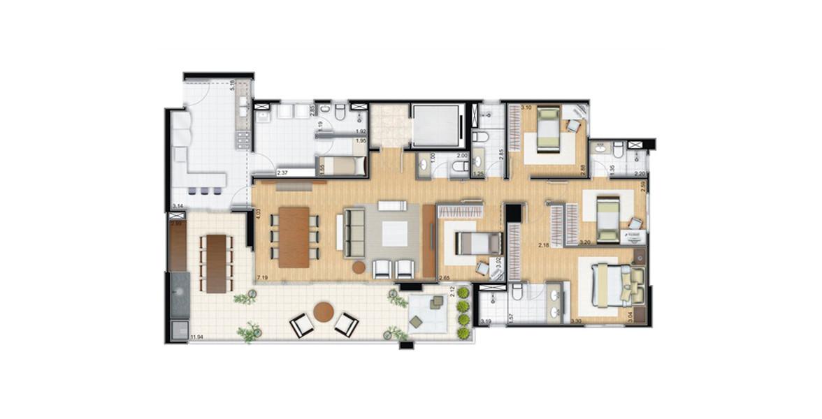177 M² - 4 DORMS., SENDO 2 SUÍTES. Apartamento pronto para morar com excelente varanda com 11 metros de frente integrado ao living e à cozinha. O living conta com lavabo e hall social.