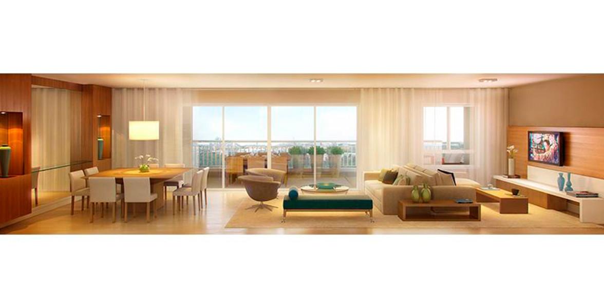 LIVING do apto de 162 m² com excelente integração com a varanda devido aos amplos caixilhos e portas de vidro.
