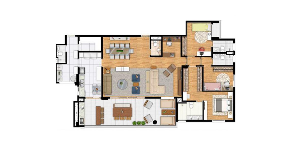 198 M² - 3 SUÍTES. Apartamento pronto para morar com ampla varanda integrada ao living e à cozinha. O living é generoso, com home office, lavabo e possibilidade de integração com a cozinha.