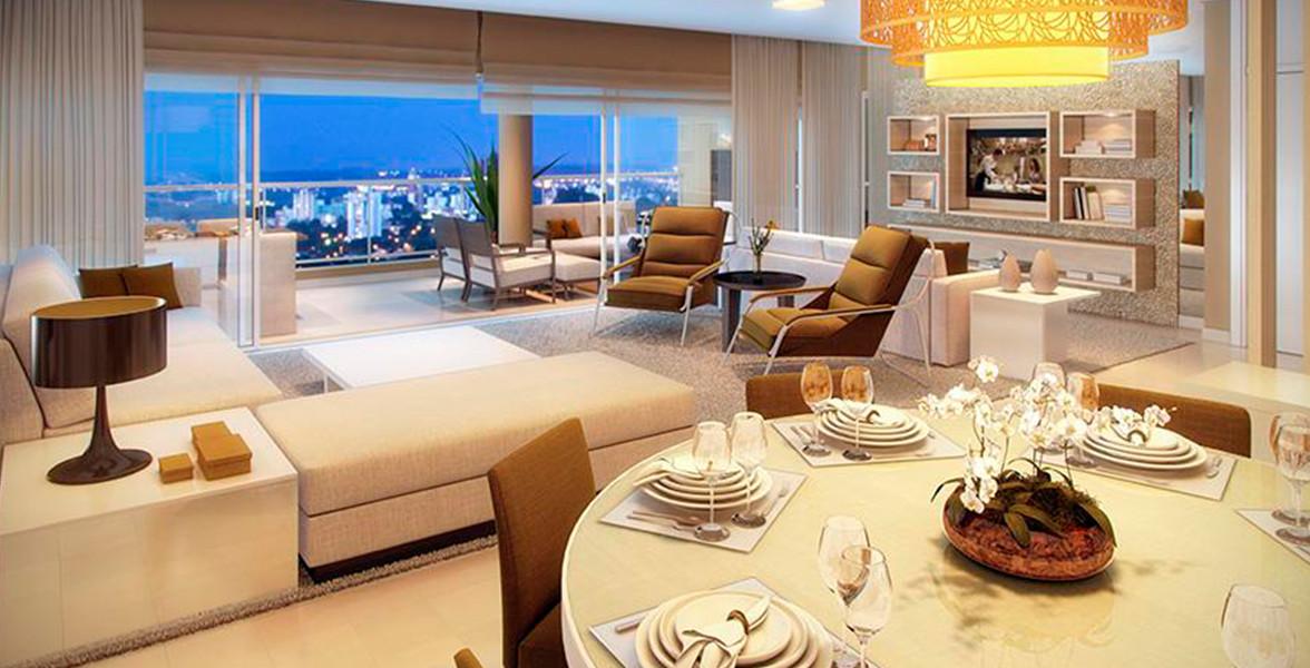 LIVING do apto de 234 m² tem excelente integração com a varanda devido às amplas portas de vidro.