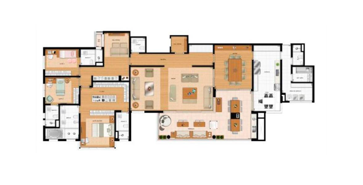 304 M² - 3 SUÍTES. Apartamento de alto padrão com varanda gourmet com churrasqueira, integrado ao living e à cozinha. Tem acesso pelo hall privativo ou pela entrada de serviço.