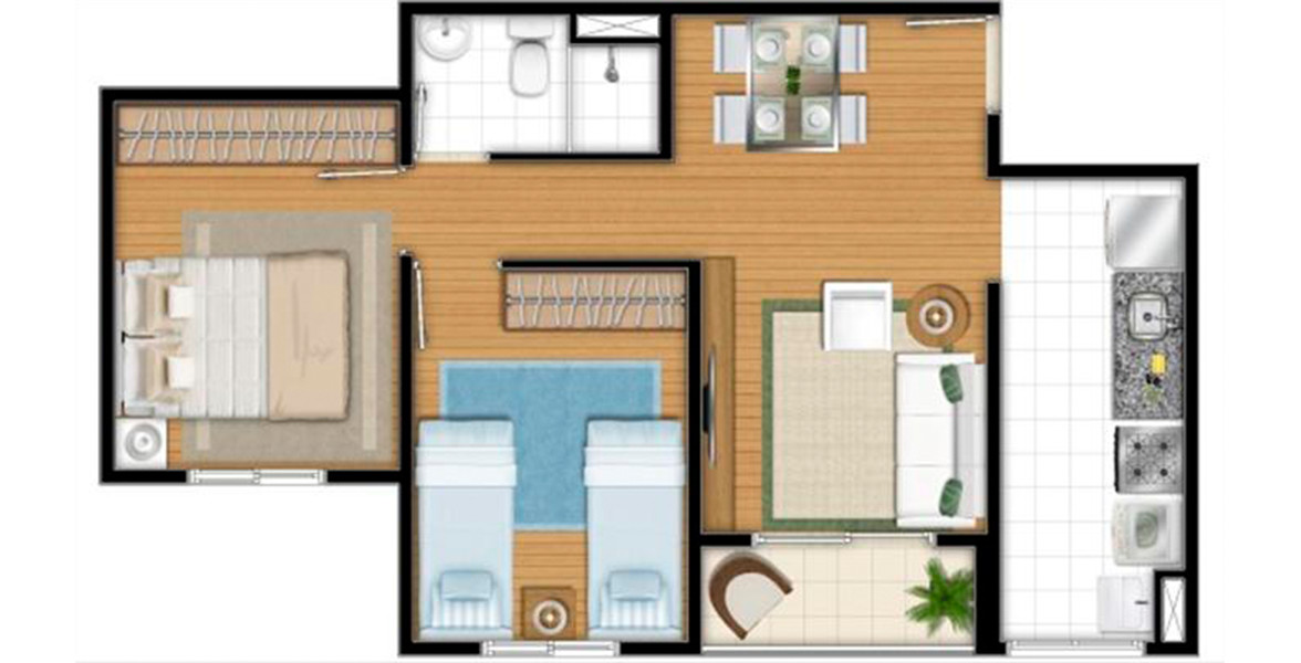Planta do Rossi Mais Clube Itaim. floorplan