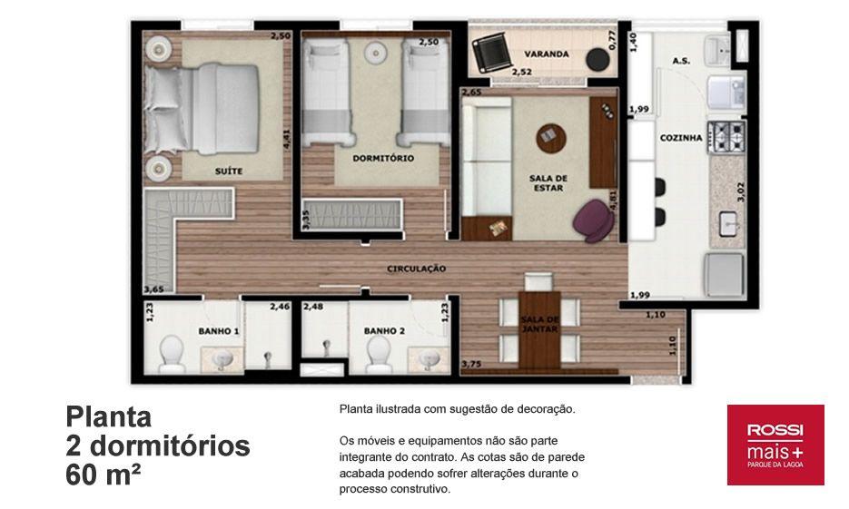 60 M² - 2 DORMITÓRIOS, SENDO 1 SUÍTE. Apartamento no Centro de Barueri para famílias com até 2 filhos, tem possibilidade de fazer cozinha americana, proporcionando maior amplitude na área social.
