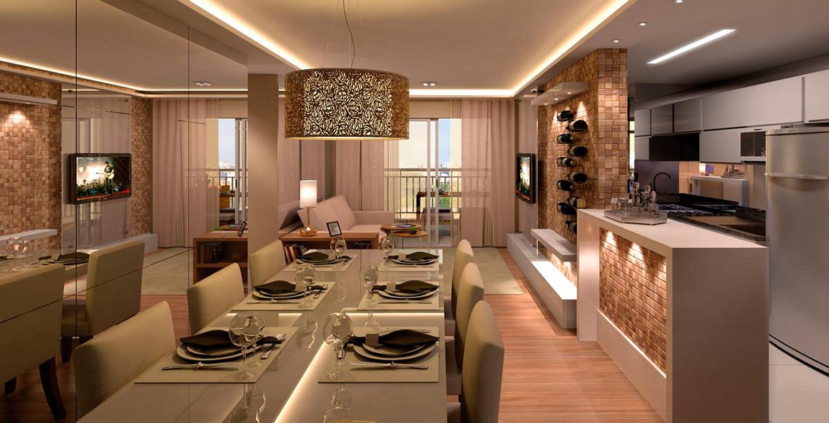 LIVING do apto de 81 m² com cozinha americana do Vila Nova Sabará - Praça Alvorada