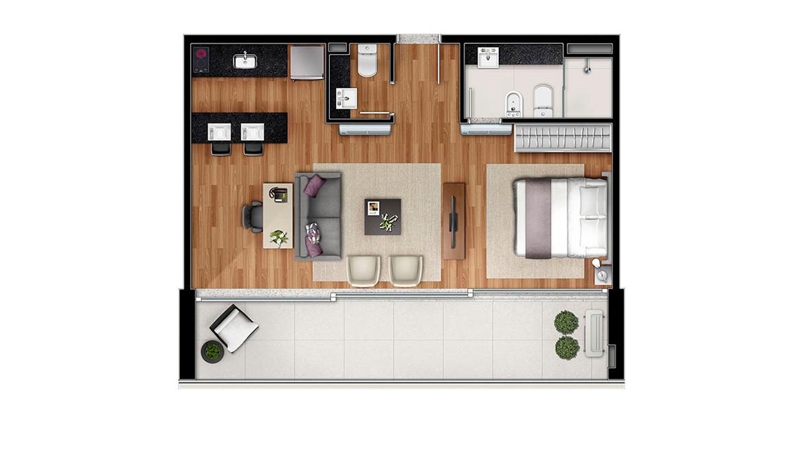 62 M² - STUDIO. Apartamento na Vila Olímpia, tem terraço com 3 portas de vidro, que permitem maior abertura, criando uma excelente integração.