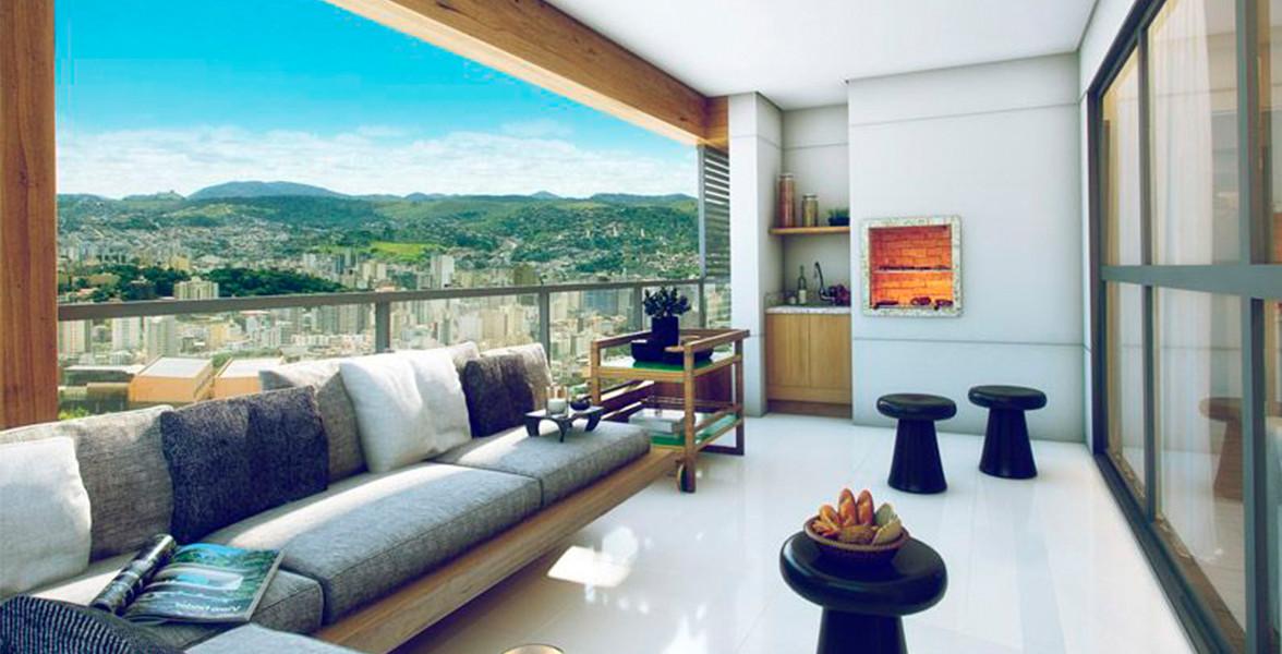 VARANDA GOURMET do apto de 145 m² com churrasqueira e guarda-corpo de vidro do Art Cube