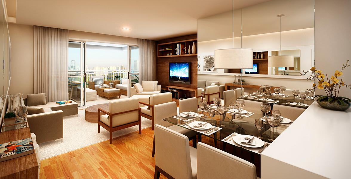 LIVING AMPLIADO do apto de 83 m² com excelente espaço para receber bem, ainda conta com apoio da ampla varanda.