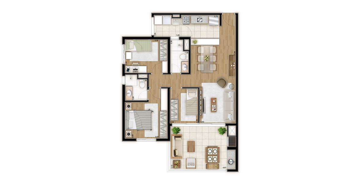 Planta do Emotion Mooca. 83 M² - 3 DORMS., SENDO 1 SUÍTE. Apartamento na Mooca com 3 dormitórios, com destaque para uma ótima suíte com ampla área para armário e banheiro com ventilação natural. 2 vagas demarcadas.