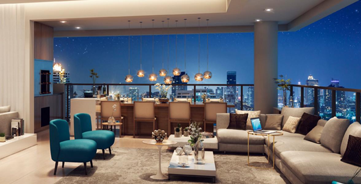 OPEN LIVING do apto de 122 m² totalmente integrado à varanda gourmet com churrasqueira.