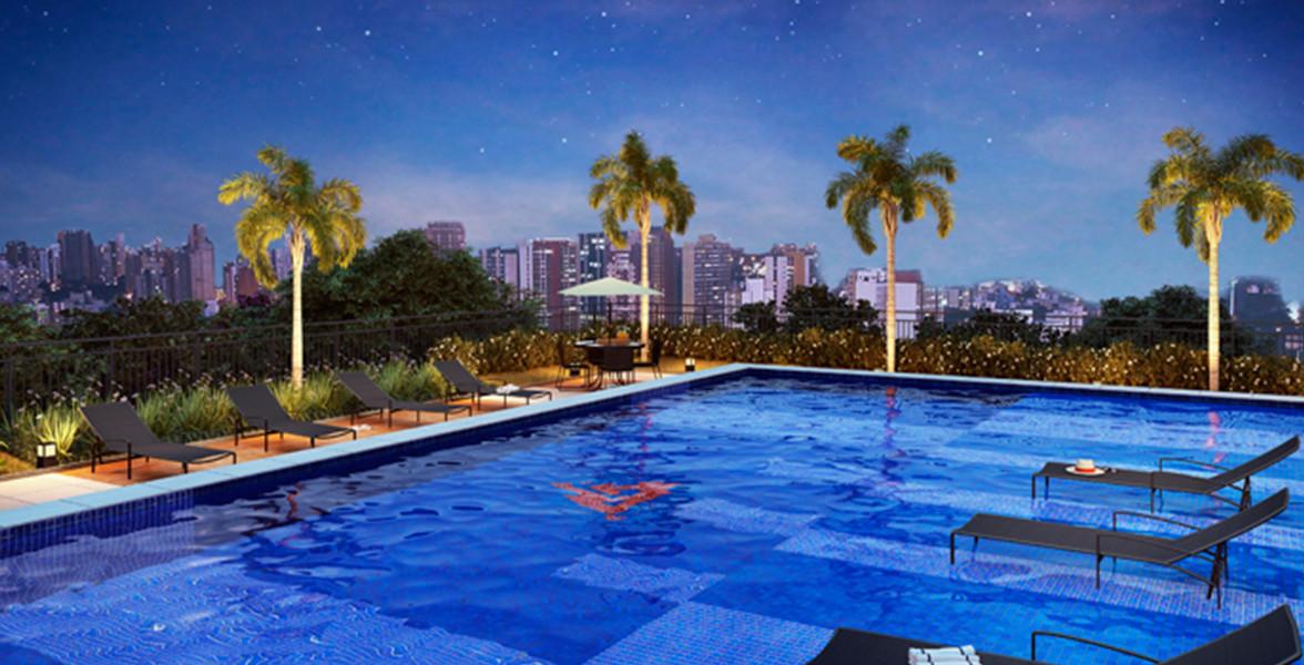 PISCINA ADULTO com deck molhado, piscina infantil e solarium.