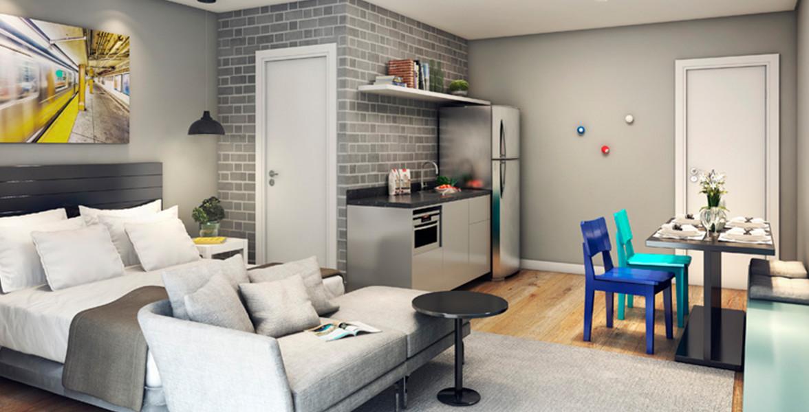 LIVING do apto de 26 m² que também haverá um exclusivamente para você compartilhar com amigos ou familiares.