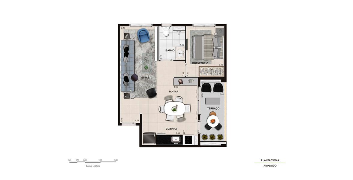 52 M² - 1 DORM. Apartamento com living ampliado, tem uma ampla área social integrada à cozinha e ao terraço, ótimo para receber os amigos.