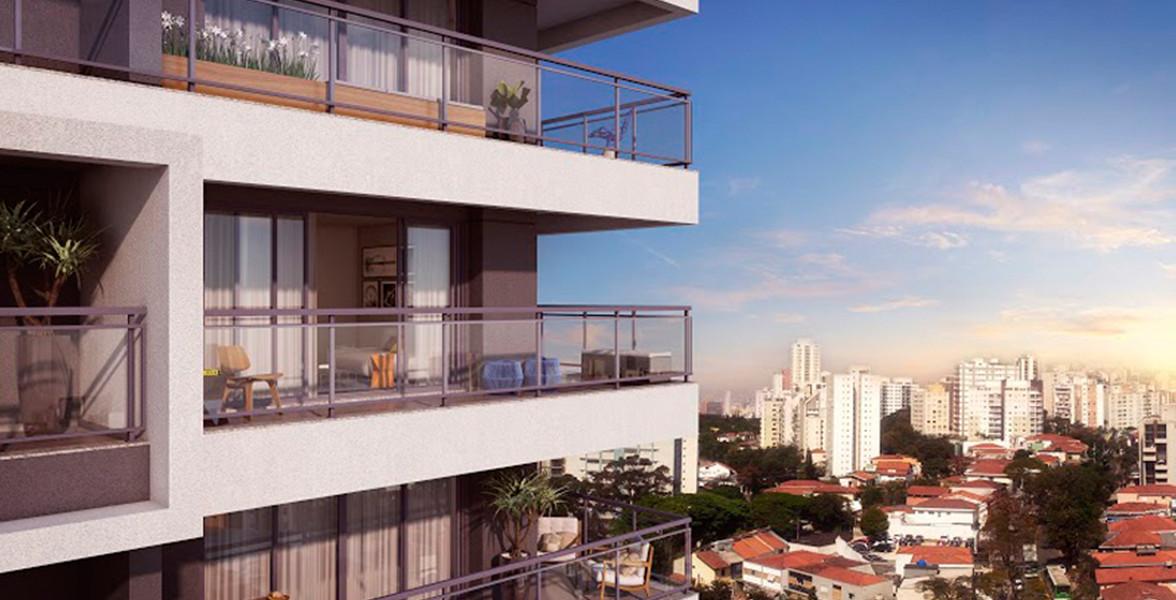 TERRAÇO amplo, com guarda-corpo de alumínio e vidro, que dá um visual ainda mais moderno à torre do Smart Vila Madalena