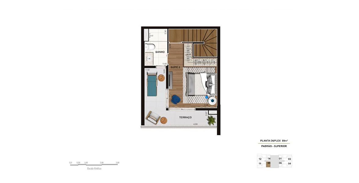 Planta do Smart Vila Madalena. 89 M² - 2 SUÍTES. Cobertura duplex superior, destinada à suíte com ampla área para armário e espaçoso terraço íntimo.