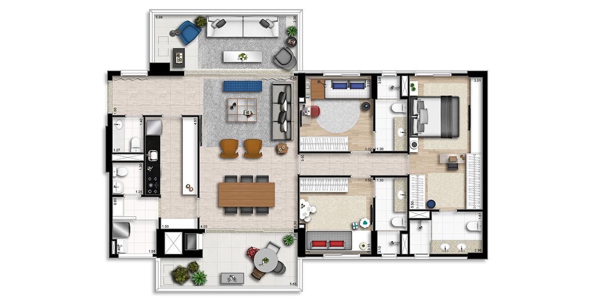 145 M² - 3 SUÍTES. Apartamento no Brooklin, com 3 ótimas suítes com destaque para a suíte master com closet, espaço para home office e banheiro com 2 cubas.