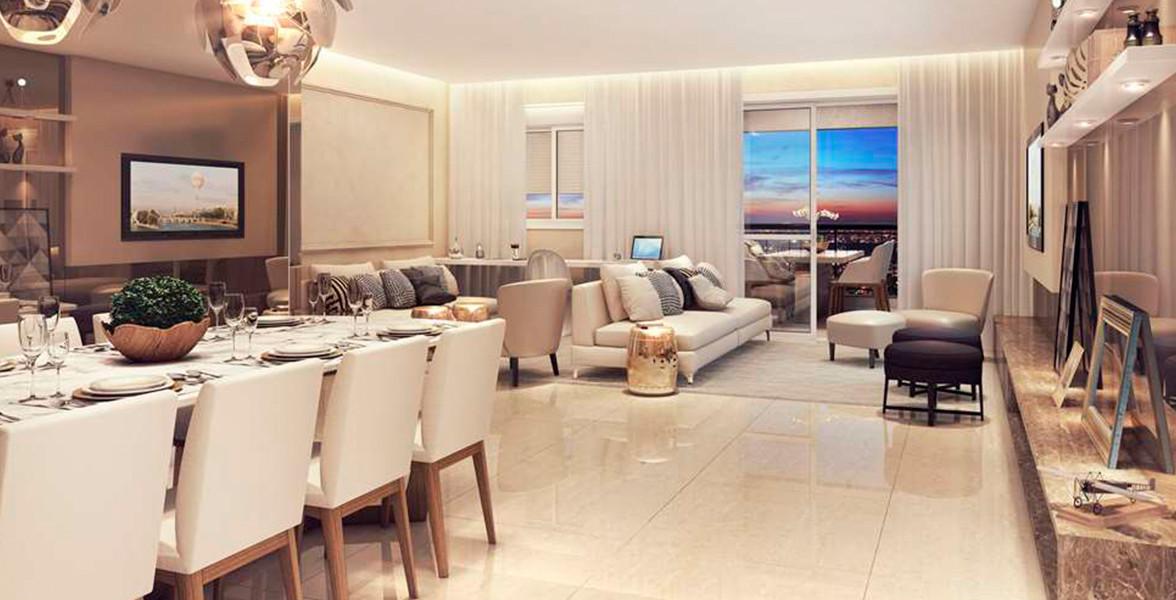 LIVING AMPLIADO do apto de 115 m² com lavabo e opção de cozinha americana, proporcionando maior amplitude.