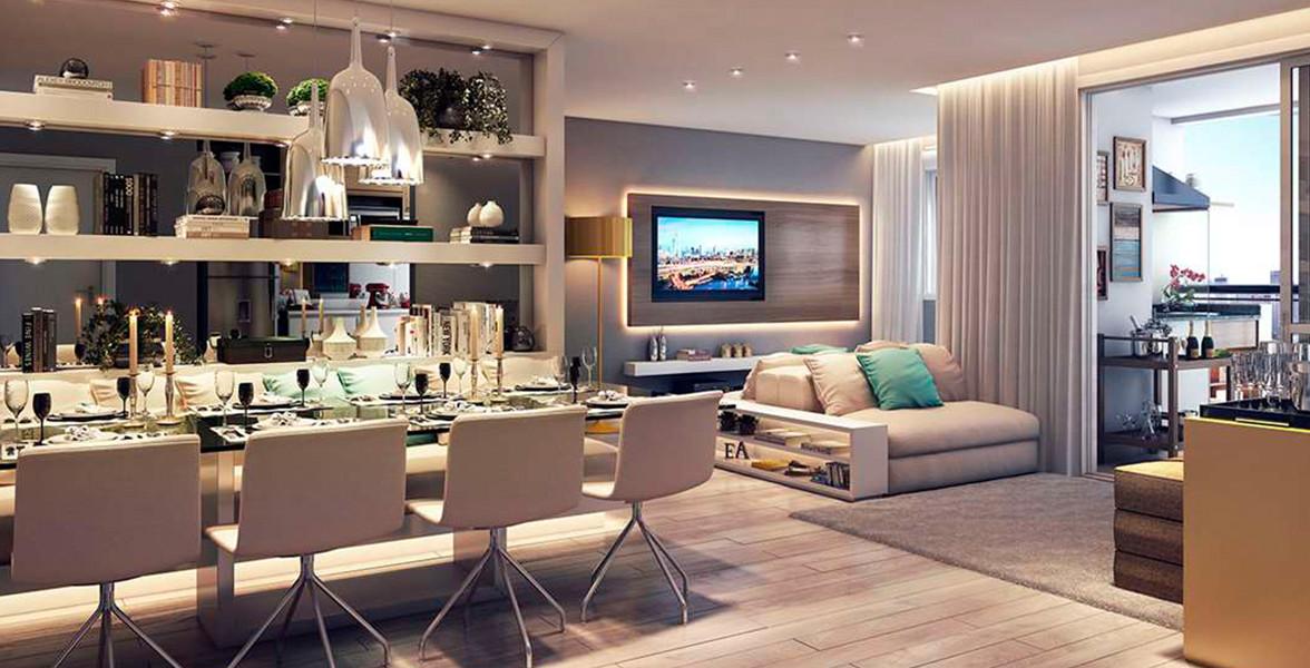 LIVING AMPLIADO do apto de 79 m² bem confortável, proporciona uma circulação interna fluída.