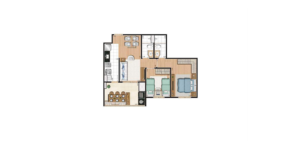 63 M² - 2 DORMS., SENDO 1 SUÍTE. Apartamento na Vila Guilherme com amplo terraço com espaço suficiente para receber sua mesa de jantar e já é entregue com churrasqueira. Raro em apartamentos de 2 dormitórios.
