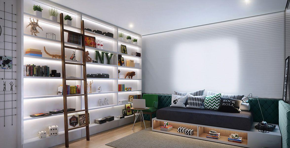 QUARTO MENINO do apto de 152 m² com janelas com persiana de enrolar. (sugestão de decoração)
