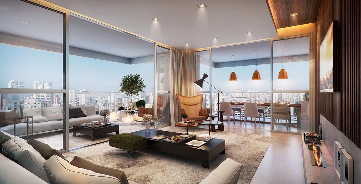 LIVING do apto de 152 m² com excelente integração com os terraços com pisos nivelados e ampla abertura de caixilhos de piso a teto.