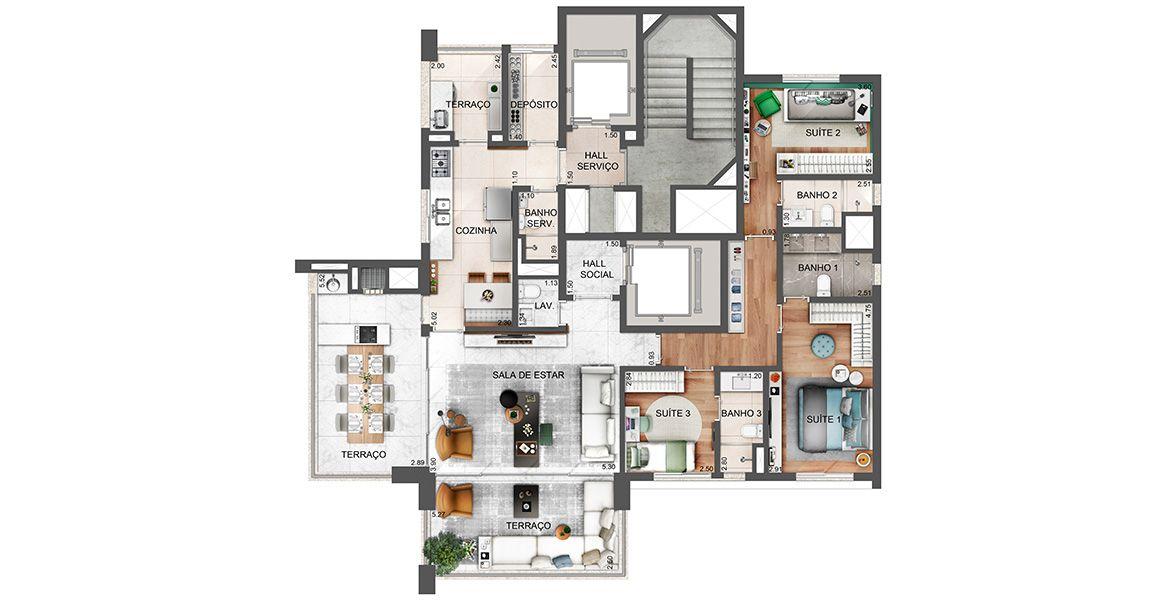 152 M² - 3 SUÍTES. Apartamento na Vila Olímpia com entrada social por hall privativo. O terraço gourmet tem integração direta com a cozinha com iluminação e ventilação natural e aquecimento de água na bancada. 3 vagas.