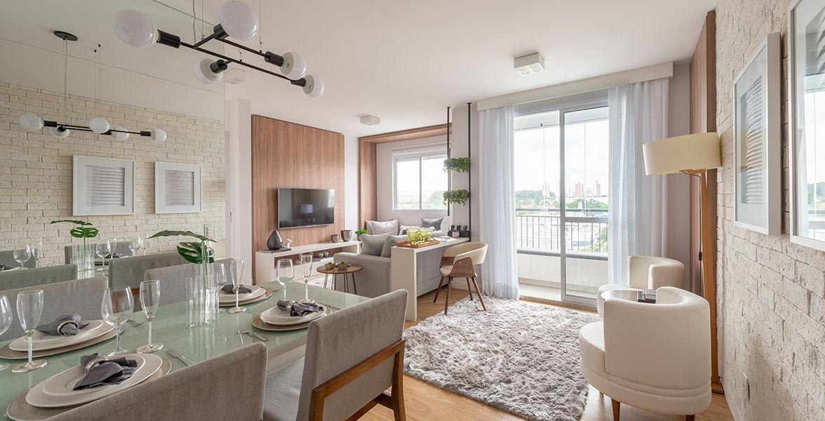 LIVING do apto de 51 m² recebe bastante iluminação natural.