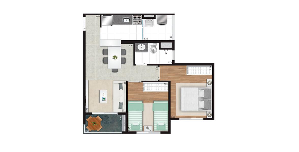 51 M² - 2 DORMS. Apartamento de 2 dormitórios e um banheiro ventilado e iluminado naturalmente. A cozinha americana cria uma integração com a sala muito boa.
