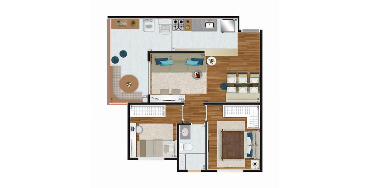 Planta do You, Alto da Boa Vista. 51 M² - 2 DORMS. Apartamento no Alto da Boa Vista com um excelente terraço, integrado ao living e com passagem direta para a cozinha. Banheiro tem ventilação e iluminação natural.