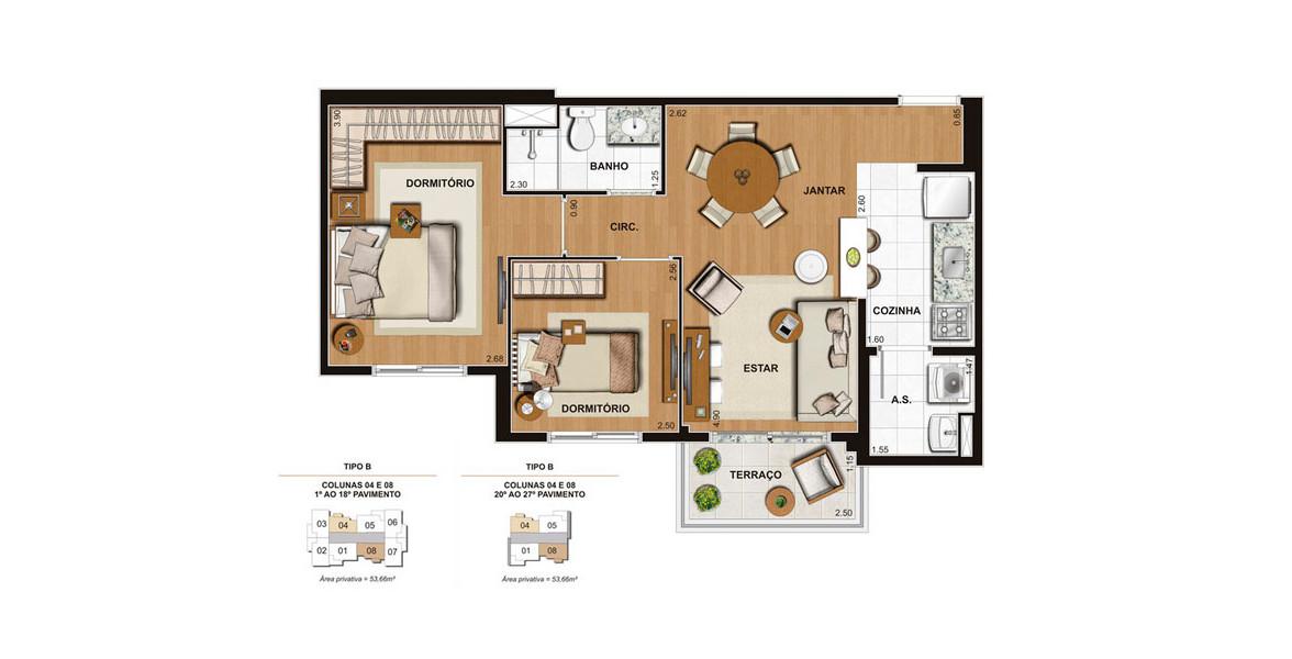 Planta do Estação Brás. 53 M² - 2 DORMS. Apartamento no Brás com 2 dormitórios, com fechadura biométrica e infraestrutura para automação e ar-condicionado by Fast Life.