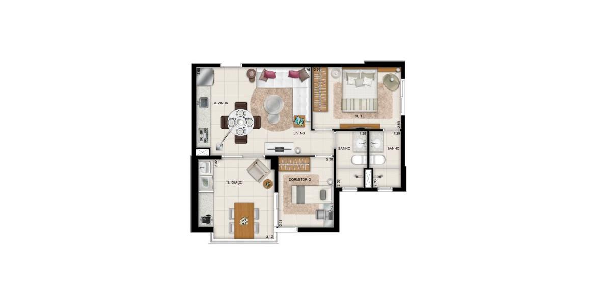 57 M² - 2 DORMS., SENDO 1 SUÍTE. Apartamento na Bela Vista com 2 dormitórios e 2 banheiros com ventilação e iluminação natural. É uma ótima opção para família que quer morar bem localizada e com bons preços.