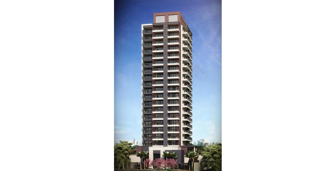 FACHADA com 22 andares e arquitetura moderna.