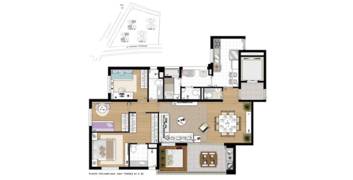 128 M² - 3 DORMS., SENDO 1 SUÍTE. Apartamento com living ampliado com lavabo, acessado por hall social do elevador, integrado ao terraço gourmet já com churrasqueira.