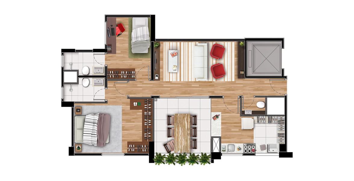 77 M² - 2 SUÍTES. Apartamento no Panamby de 2 suítes confortáveis, atendidas por banheiros ventilados naturalmente. Tem um ótimo terraço integrado à cozinha e à sala com lavabo. Suíte é ampla e conta com ampla área para armários.