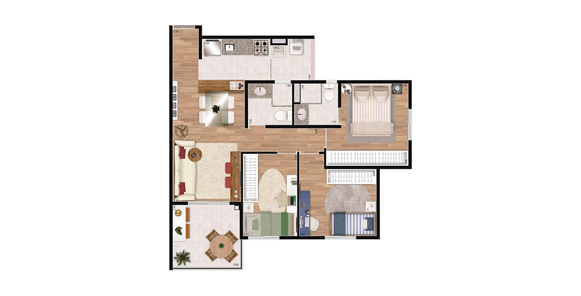 Planta do You, Prime Vila Mariana. 68 M² - 3 DORMS., SENDO 1 SUÍTE. Apartamento de 3 dormitórios na Vila Mariana com cozinha americana e terraço integrado ao living, um excelente apoio para você receber bem suas visitas.