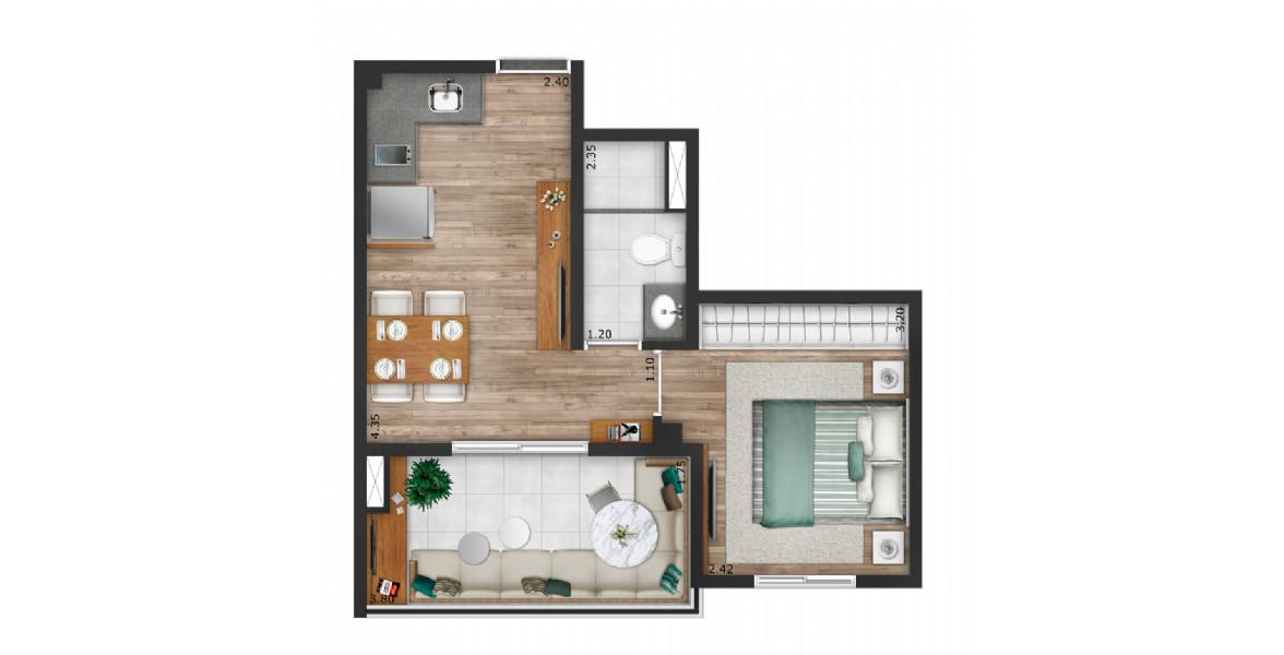 33 M² - 1 DORM. Apartamento na Vila Mariana com um dormitório com ampla área para armário. Tem uma ótima varanda com ponto elétrico para você usá-la como sala.