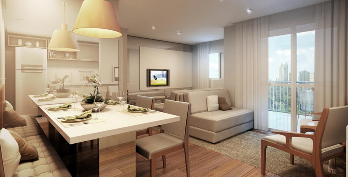 LIVING AMPLIADO do apto de 49 m² fica bem confortável para receber os amigos, ainda conta com apoio do terraço.