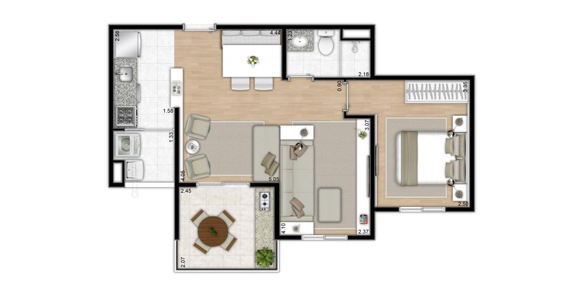 49 M² - 1 DORM. Apartamento com living ampliado e com cozinha americana, é uma ótima opção para solteiros e recém-casados.