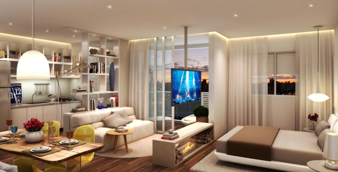 LIVING do apto de 46 m² com infraestrutura para ar-condicionado e automação.