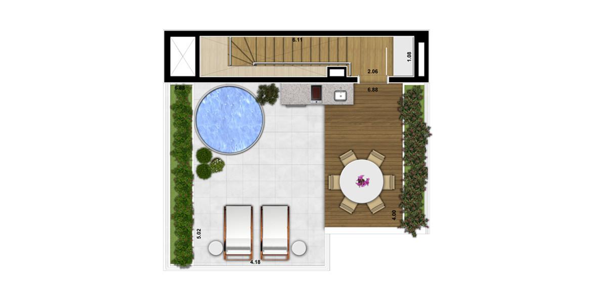 88 M² - 1 SUÍTE. Cobertura duplex superior com amplo terraço descoberto com infra para spa, ponto para grill e frigobar e bastante espaço para seu solarium privativo.