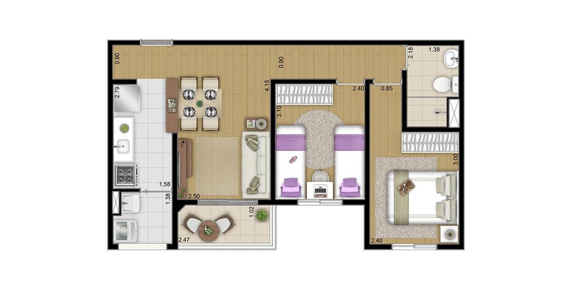 50 M² - 2 DORMS. Apartamento com cozinha americana e varanda integradas à sala. Ao lado da porta de entrada ainda cabe uma boa adega.