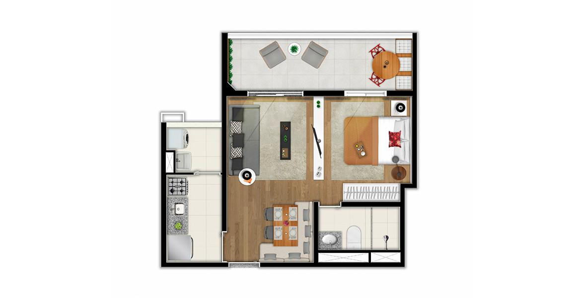 43 M² - STUDIO. Apartamento compacto no Alto da Lapa com amplo terraço e espaços muito bem integrados para quem busca praticidade.