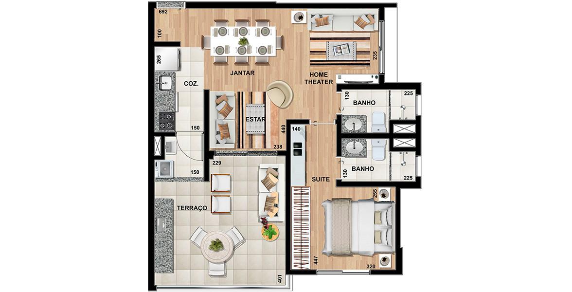 70 M² - 1 SUÍTE. Apartamento no Campo Belo com living ampliado, tem um amplo terraço integrado ao living e com passagem para a cozinha. Com a preparação para fogão elétrico, pode-se fazer uma ilha, deixando a área social mais integrada.