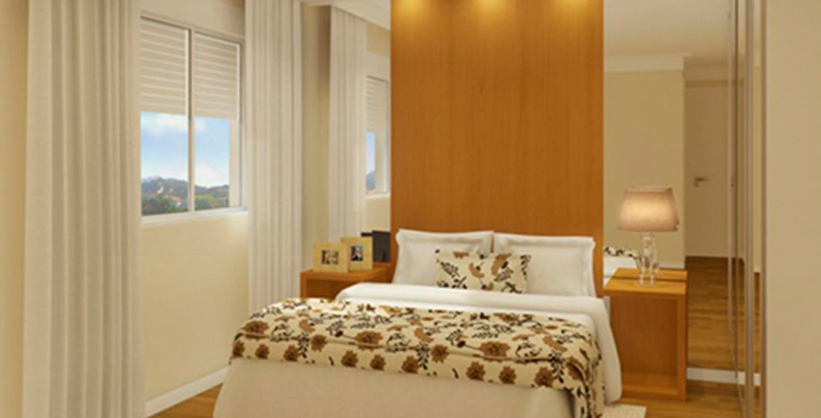 SUÍTE do apto de 52 m² com janela com persiana de enrolar, que permite maior entrada de luz do Alcance Clube Residencial