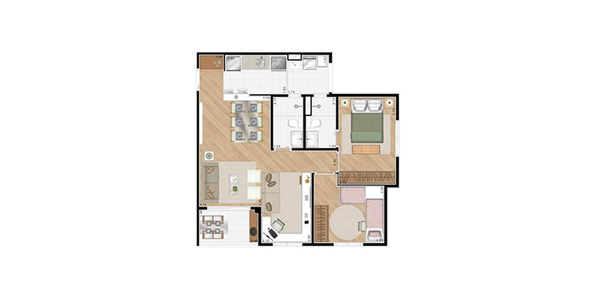 Planta do Alcance Clube Residencial. 65 M² - 2 DORMS., SENDO 1 SUÍTE. Apartamento com sala ampliada, é ideal para casais jovens que gostam de receber os amigos. A sala de estar e a sala de TV são confortáveis e ainda tem o apoio do terraço.