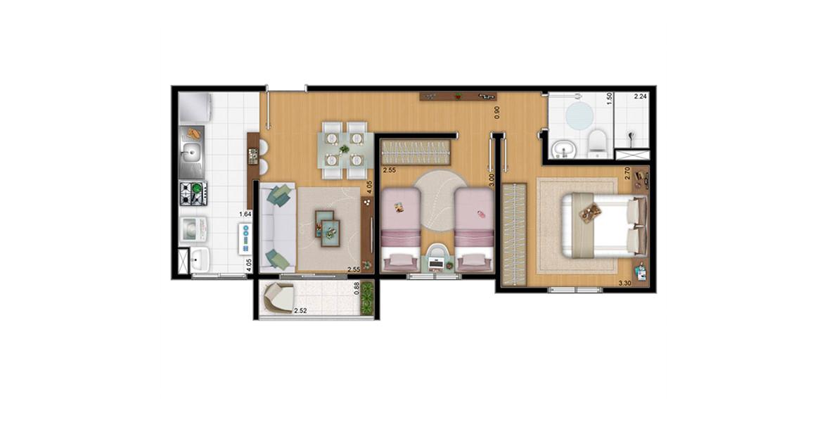 47 M² - 2 DORMS. Apartamento em Guarulhos com 2 dormitórios e terraço. Devido ao seu tamanho, consegue ter um preço bem atrativo.