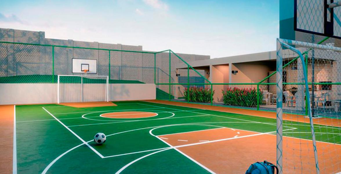 QUADRA pronta para futebol e basquete.