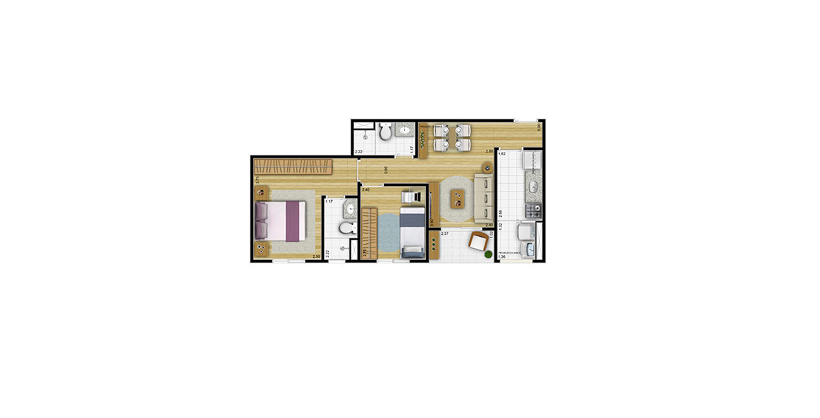 Planta do Pleno Jaçanã. 53 M² - 2 DORMS. Apartamento no Jaçanã com 2 dormitórios e terraço. Devido ao seu tamanho, consegue ter um preço bem atrativo.
