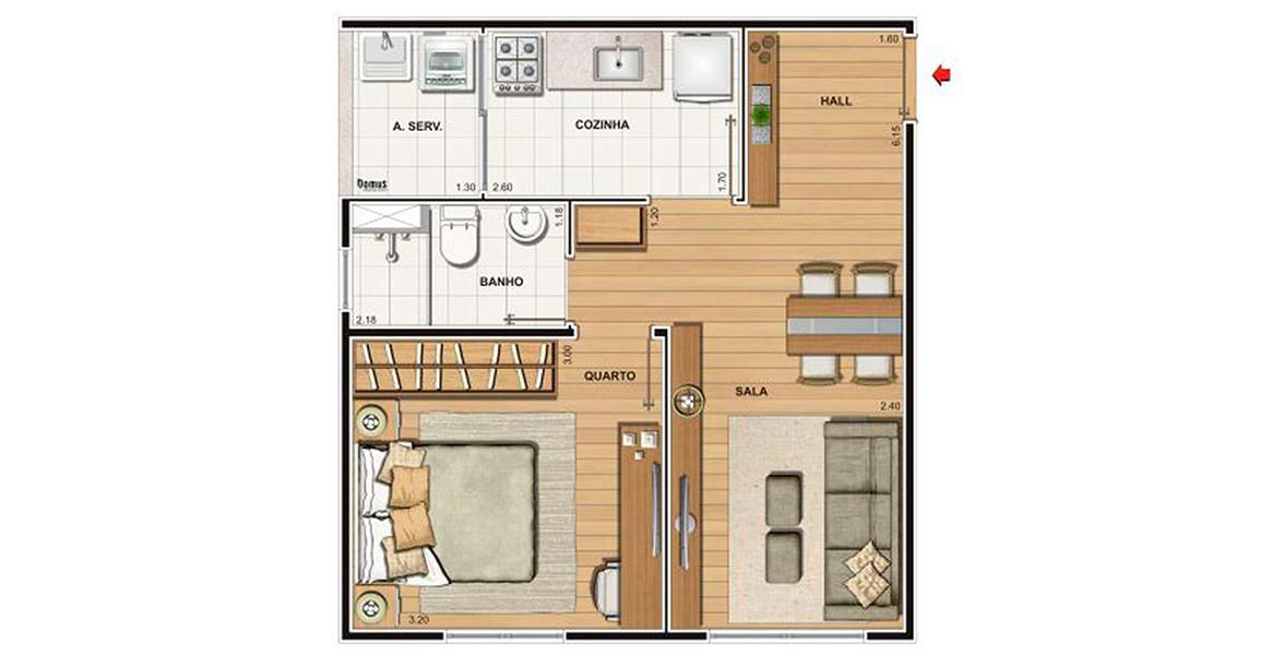 38 M² - 1 DORM. Apartamento compacto, não tem varanda para aproveitar melhor os espaços internos. É o melhor preço do Residencial Bosque Clube.