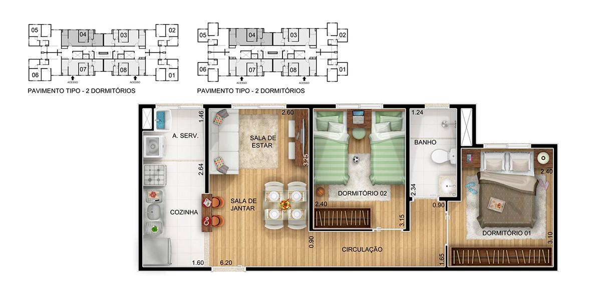 Planta do Ritmo Condomínio Clube. floorplan